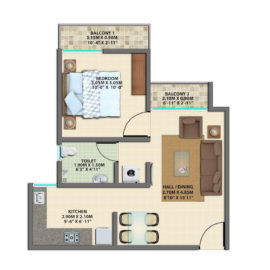 1BHK TYPICAL FLOOR TYPE 2