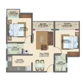 TYPE 4 : 2 BHK Typical Floor Plan | VBHC Greenwoods