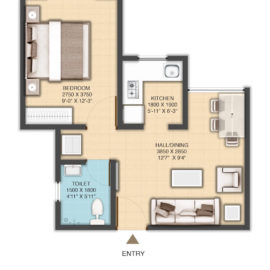 TYPE 3 : UNIT CARPET AREA FlOOR PLAN | VBHC Greendew