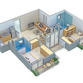 2 BHK DELUXE - 3D View (Isometric View) | VBHC Hillview