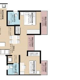 2 BHK: Unit Plan | VBHC Hillview