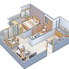 1 BHK DELUXE - 3D View (Isometric View) | VBHC Hillview