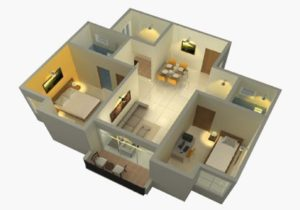 2 BHK REGULAR - 3D VIEW (Isometric View)