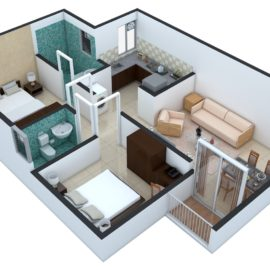 TYPE 3: 2 BHK Regular - 3D VIEW (Isometric view) | VBHC Palmhaven 2