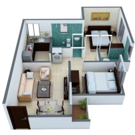 TYPE 4: 2 BHK Regular - 3D VIEW (Isometric View)