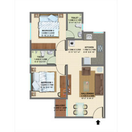 TYPE 3: 2 BHK Regular - VBHC Palmhaven 2