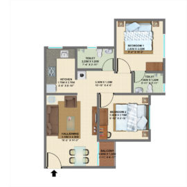TYPE 4: 2 BHK Regular - VBHC Palmhaven 2 (Block C)
